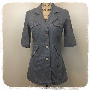 Free People Gray Short Sleeve Top/Jacket sz. 4